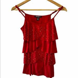 Red Ruffle Studded Stretch Adjustable Strap Tank S